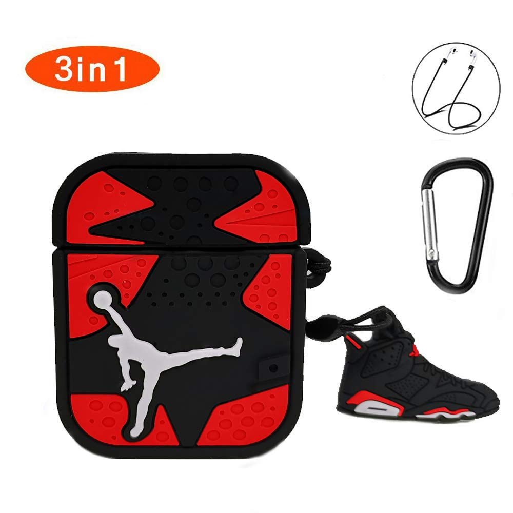 Compatible for AirPods 1&2 Case,Rcligent Cute Cool Design 3D Fashion Character Silicone Fun Keychain Cases for Kids Teens Boys Men(Red Flying Men)