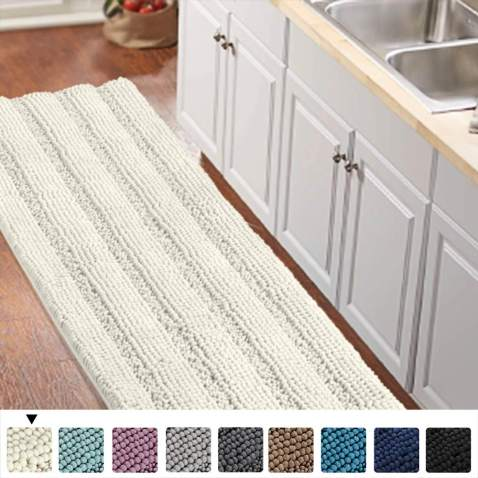 Non Slip Kitchen Bath Rug Runner Luxury Chenille Shaggy Bathroom Rug Mat Ivory White Bath Mat Ultra Soft And Cozy Super Absorbent Large Shaggy Rugs Washable Carpet Kitchen Mats 59 X20 Ivory