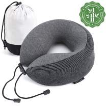 GiiYoon Travel Pillow, Upgraded Bamboo Charcoal Memory Foam Pillow Core, U-Shape Neck Pillow for Airplane Travel, Ergonomic Design can 360° Support Head,Neck and Chin, Soft and Comfortable (Black)