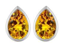 Star K Sterling Silver 9x6mm Pear Shape Earrings Studs