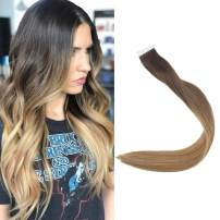 Full Shine 22 inch Color #2 Fading to #6 and #27 Strawberry Blonde Skin Weft Hair Tape in Hair Remy Hair Remy Hair Ombre Skin Weft Tape Hair Extensions Strawberry Hair Highlight Human Hair Extention