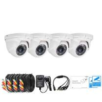 LONNKY 4-Pack 1080P TVI Analog Dome Cameras Kit (Including Power Supply, Splitter and Video/Power Extension Cable), 3.6mm Lens 80ft Night Vision HD CCTV Waterproof Security System