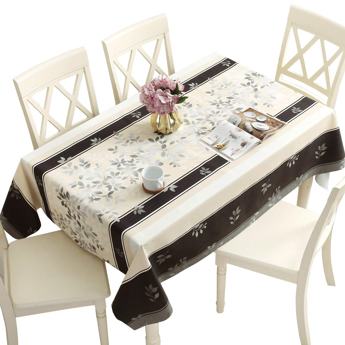 DUOFIRE Vinyl Tablecloth Rectangle Heavy Weight Table Cover Wipe Clean Waterproof (54 x 102 Inch, Color-no.016)