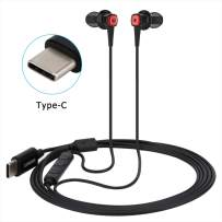 USB C Headphone,Lewoer in-Ear Noise Cancelling Type C Earbuds Hi-Fi Gym Sports Headsets with Microphone Compatible Google Pixel 3/2/XL Oneplus 5/5T/6 Essential PH-1 Razer Phone