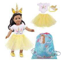 Luckdoll Doll's Unicorn Clothes Costume Princess Dress Tutu Skirt with Headband Hair Accessory for 18 Inch American Girl Dolls (E Style)