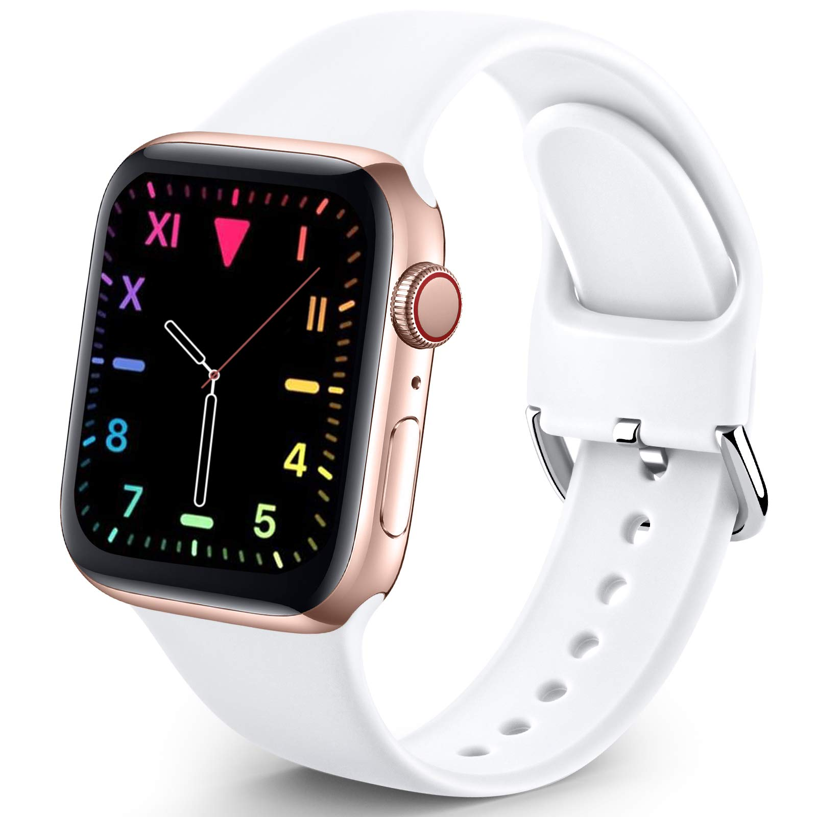 Sport Band Compatible with Apple Watch iWatch Bands 38mm 40mm for Women Men,Soft Silicone Strap Wristbands for Apple Watch Series 3 Series 6 Series 5 Series 4 Series 2 Series 1 Series SE,White