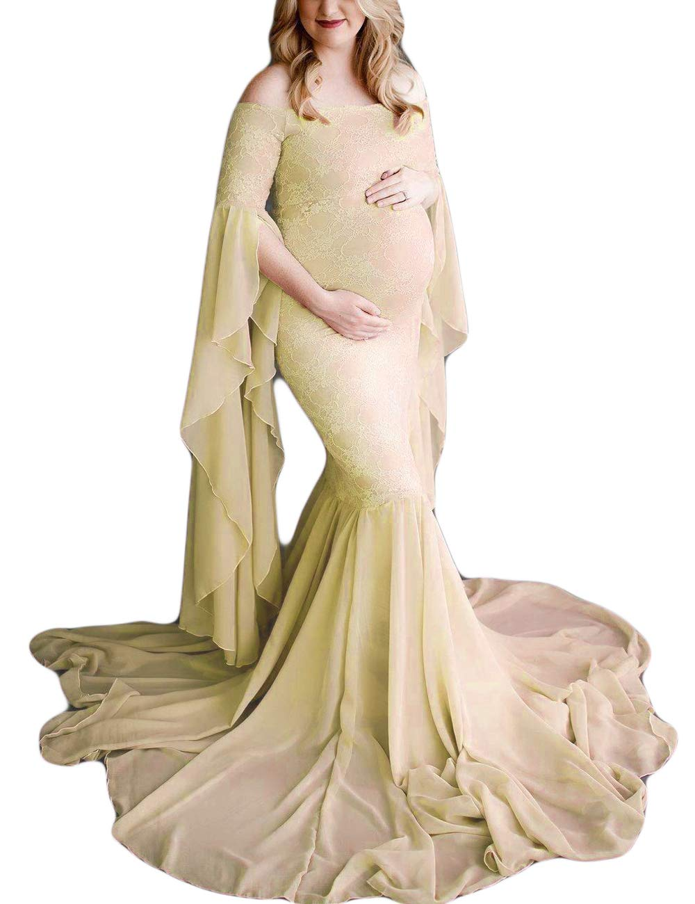 ORQ Maternity Elegant Fitted Gown Off Shoulder Flare Sleeve Mermaid Slim Fit Maxi Photography Dress