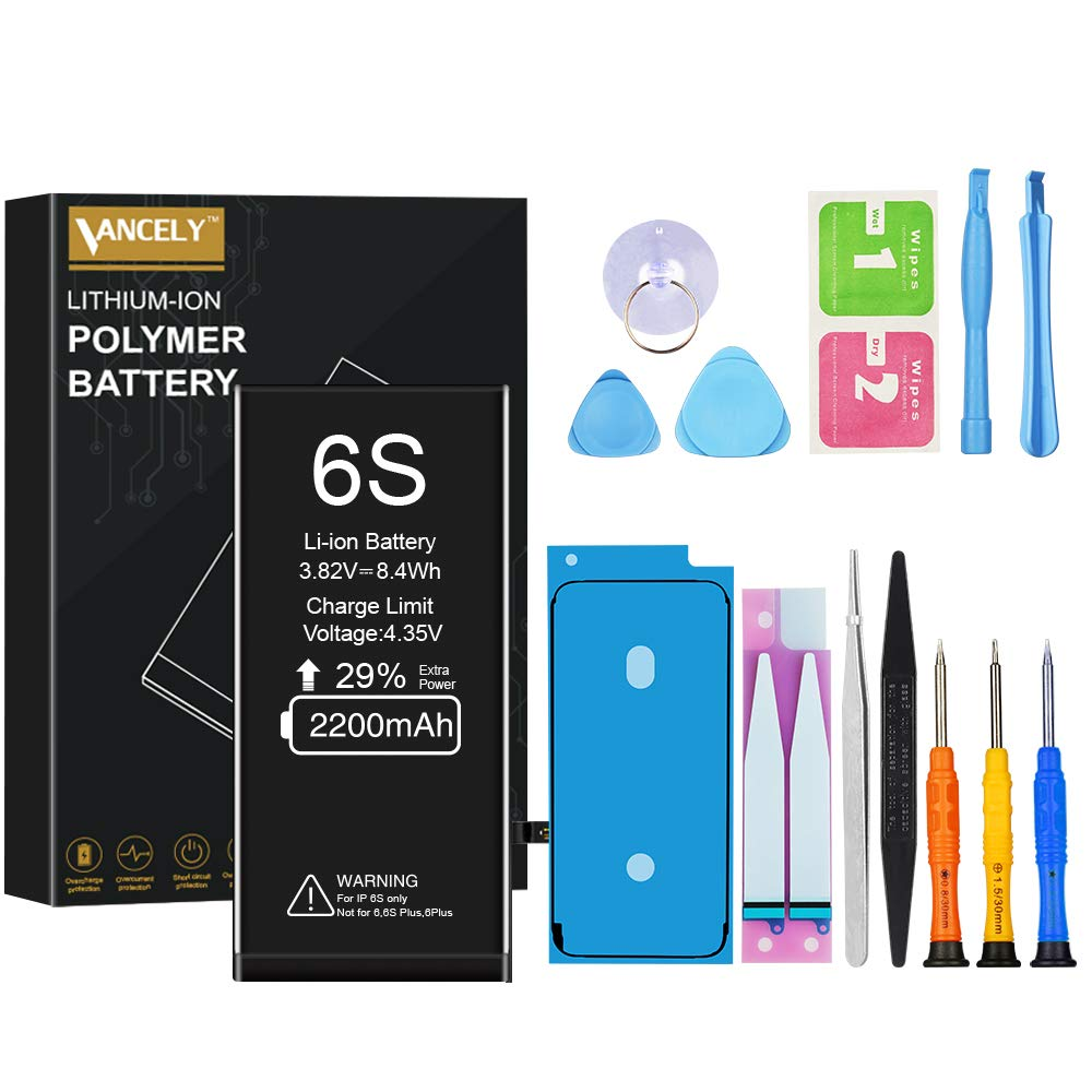 [2200mAh] Battery for iPhone 6s, Vancely New 0 Cycle Higher Capacity Battery Replacement for iPhone 6s with Complete Professional Repair Tools Kits - 2 Year Warranty