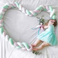 """Infant Soft Pad Braided Crib Bumper Knot Pillow Cushion Cradle Decor for Baby Girl and Boy (White-Rose-Green, 79"""")"""