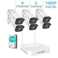 Wireless Home Security Camera System, Hornbill 1080P 8CH Expandable Surveillance NVR Kit with 1TB Hard Drive, 6pcs 1080P Waterproof Outdoor Security Camera, Clear Night Vision Free Remote Access
