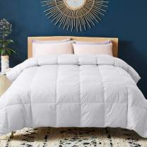 WhatsBedding 100% Cotton Down Comforter White Goose Duck Down and Feather Filling All Season Duvet Insert or Stand-Alone Comforter (Twin)