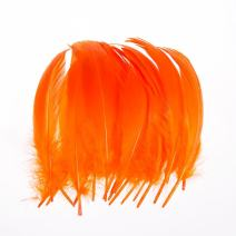 AWAYTR 100 Pcs Nature Goose Feathers for DIY Craft Wedding Home Party Decorations (Orange)