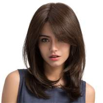 Altaba Dark Brown Medium Length Straight Wig 20 Inch Side Part Layered Shoulder Length Wig Heat Resistant Synthetic Wig Natural Looking Wigs for Women (Dark Brown)