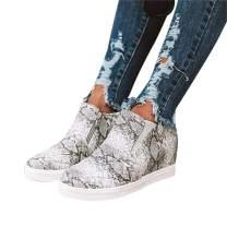 Chellysun Womens Wedge Sneakers Platform High Top Classic Side Zipper Winter Ankle Booties