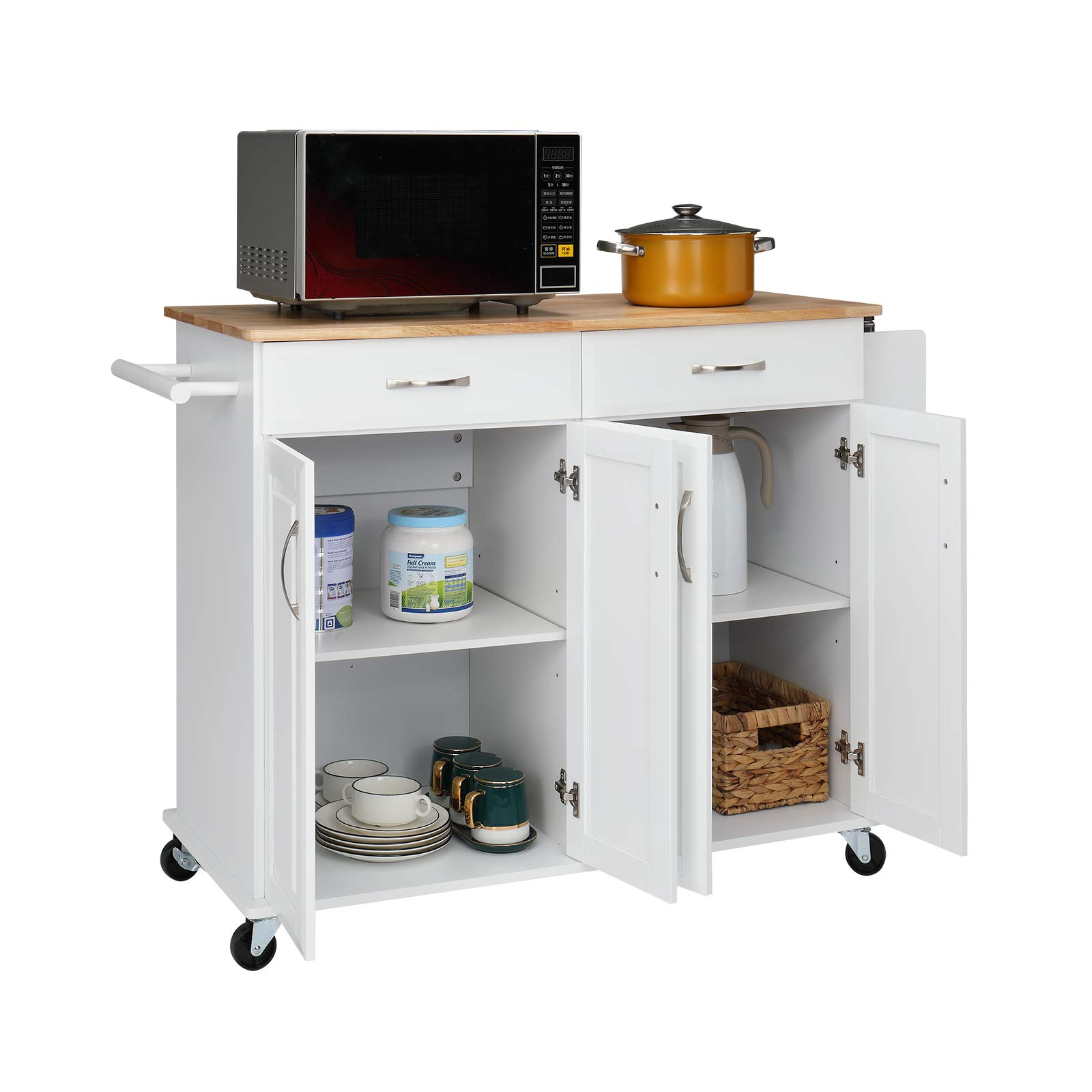 VINGLI Kitchen Island on Wheels Rolling Kitchen Buffet Cabinet Coffee Bar Cart 4 Doors and 2 Large Drawer with Storage Cabinet, Towel Handle, Spice Rack, Solid Wood Top and Loackable Castors, White