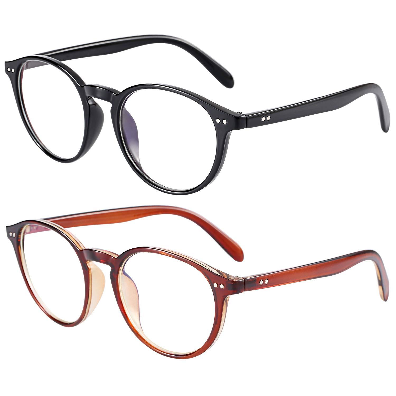 IFHTech Blue Light Blocking Glasses,Vintage Nails Round Minimize Digital Headache Anti Eyestrain Lens Lightweight Eyeglasses Tablet Reading/Gaming/TV/Phones Glasses, Men/Women (Black&Dark Brown)
