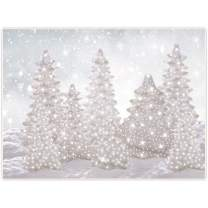 Allenjoy 8x6ft Fabric Winter Wonderland Backdrop New Year Eve Party Supplies for NYE Events Christmas Snowflake Snow Tree Home Decorations Baby Shower Cake Smash Props Photography Background Favors