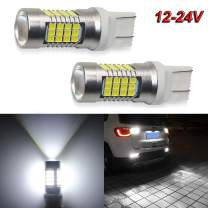 7443 Led Bulbs 2000LM 54-SMD LED Chipsets 6000K White 12-24V 2PC Pack 7440 992 T20 Led Bulb with Projector for Backup ReversS/Daytime Running/Turn Signal/Brake Stop Tail Lights (7443 White)