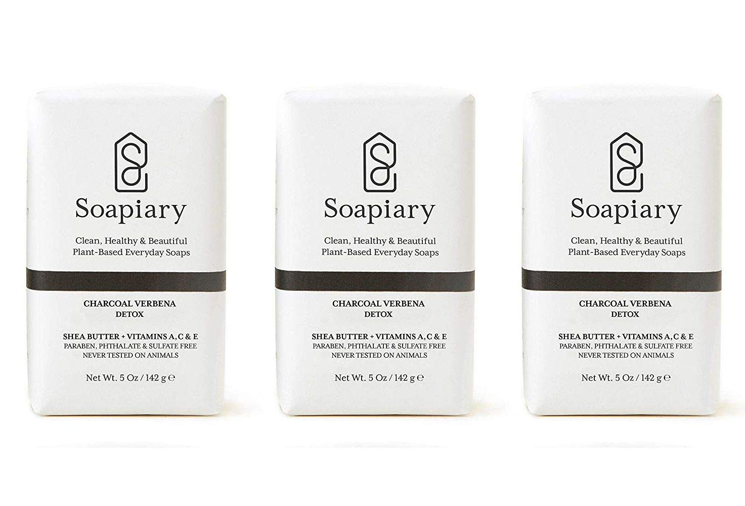 Soapiary Luxury Triple Milled 5 oz Soap Bar - Natural Vegan Plant-Based Hypoallergenic Bath Soaps – Charcoal Verbena, 3 Pack