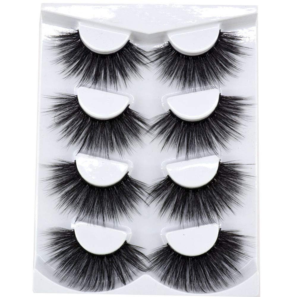 HBZGTLAD NEW 4 Pairs 3D Mink Hair False Eyelashes Criss-cross Wispy Cross Fluffy length 25mm-30mmLashes Extension Handmade Eye Makeup Tools(MDR-8)