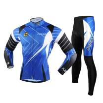 fjqxz Men's Cycling Jersey Suit and 3D Padded Pants Warm Breathable Quick Dry Long Sleeve Set Gear Outfit F06C