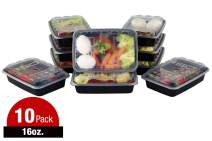 ISO Meal Prep Containers with Lids, Certified BPA-Free, Stackable , Reusable Microwave, Dishwasher, Freezer Safe - 16 oz, 10 Count, (BLACK)