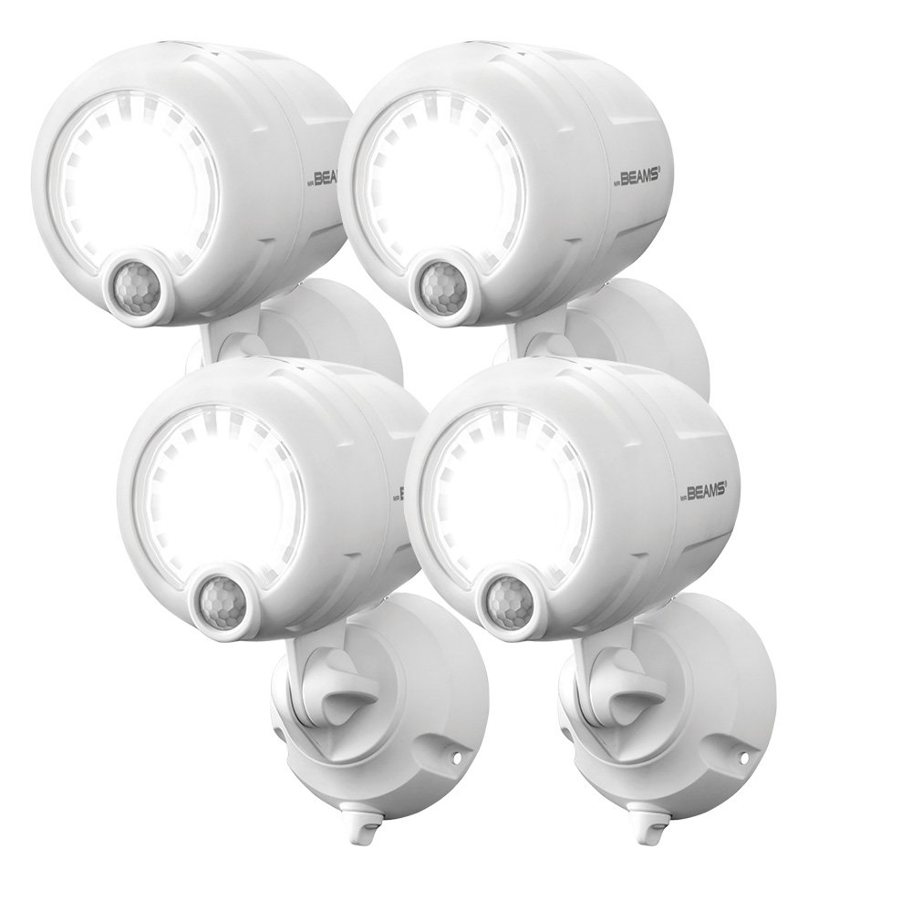 Mr. Beams MB360XT Wireless Battery-Operated Outdoor Motion-Sensor-Activated 200 Lumen LED Spotlight, White, 4-Pack