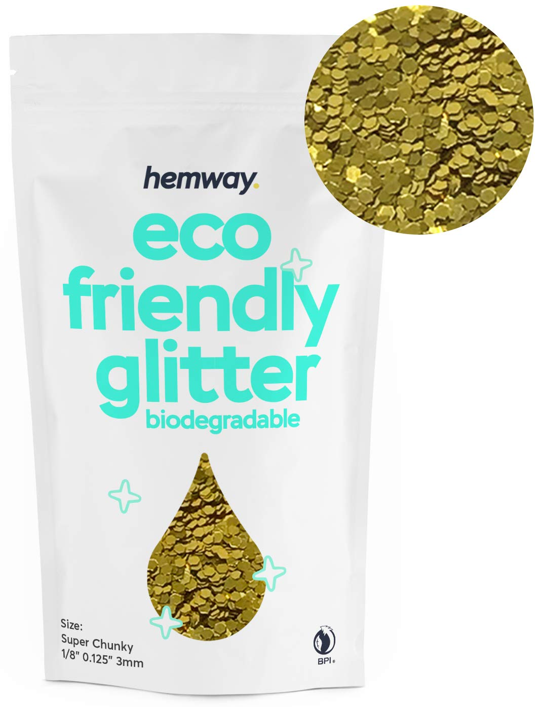 """Hemway Eco Friendly Biodegradable Glitter 100g / 3.5oz Bio Cosmetic Safe Sparkle Vegan for Face, Eyeshadow, Body, Hair, Nail and Festival Makeup, Craft - 1/8"""" 0.125"""" 3mm - Gold"""