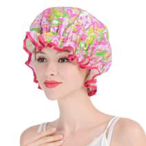 Shower Cap, Syscudo Collection Waterproof Swim Caps Advanced Bathing Caps with Shining Deco Dots, Made of PE (1 Pack, Pattern)