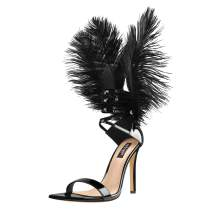 Onlymaker Women's Sexy Black Feather Back Stiletto High Heels Single Band Lace Up Sandals Pointy Toe Party Drag Queen Carnival Dress Shoes