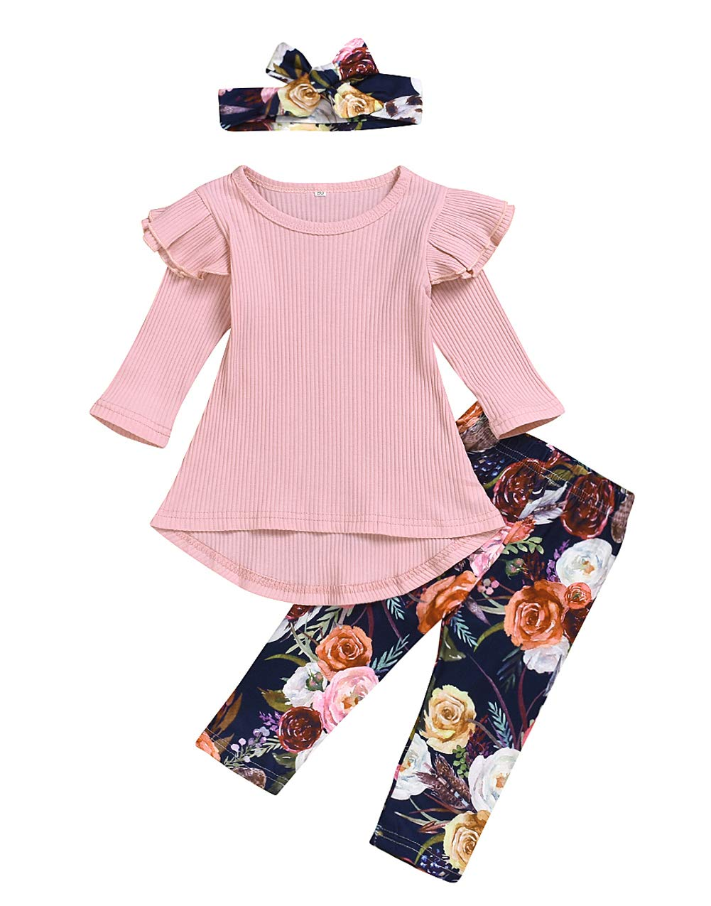 Toddler Baby Girls Clothes Sets Autumn Irregular Tops Floral Pants with Headband Outfits