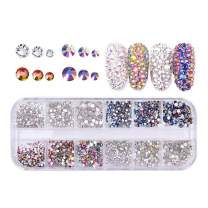 Campsis 440 psc Rhinestone Nails Art Sparkly Cryatsl Diamonds Nail Colorful Craft 3D Decorations Nails Set Fingernails Toenails Decor Manicure Supplies