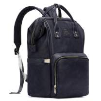 HaloVa Diaper Bag, Baby Nappy Backpack, Soft Leather Shoulders Backpack, Unisex Travel Bag for Mom and Dad, Large Capacity, Dark Blue