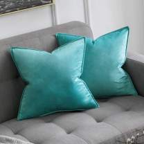 MIULEE Pack of 2 Decorative Velvet Throw Pillow Cover Soft Pillowcase Solid Square Cushion Case for Sofa Bedroom Car 24x24 Inch 60x60 cm Aqua Green
