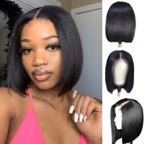 """Bob Wig, 13x4 Short Lace Front Bob Wigs Straight Human Hair for Black Women Pre Plucked Hairline with Baby Hair 130% Brazilian Remy Hair (10"""", Nature Color)"""