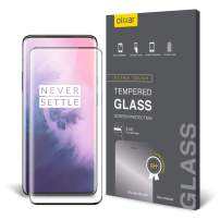 Olixar for OnePlus 7 Pro Screen Protector Tempered Glass - Full Coverage - 9H Rated - Shock Protection - Easy Application, Card and Cleaning Cloth Included - Black
