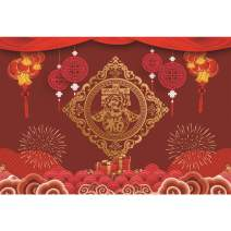 AOFOTO 10x8ft 2020 Happy New Year Backdrop Red Lanterns Chinese Knots Paper-Cut Lucky Characters Peony Copper Cash Fireworks Gifts Auspicious Clouds Photography Background Spring Festival Backcloth