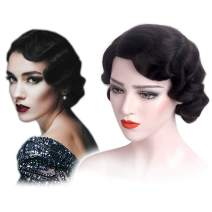STfantasy Finger Wave Wigs 1920s Flapper for Women Costume (Jet Black)