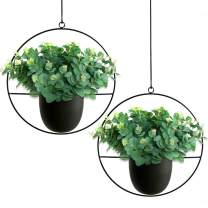 RANK 2 Pcs Metal Hanging Planter Modern Plant Hangers Mid Century Flower Pot Holder Home Decor (Round, Black)