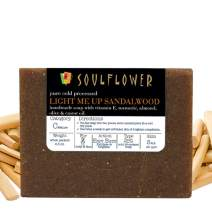 Soulflower Light me Up Sandalwood Handmade Soap with Coconut Oil, (5.3Oz) Natural, Organic, Vegan & Coldprocessed, SLS Free - Brightening & Exfoliating - Indian Formulation