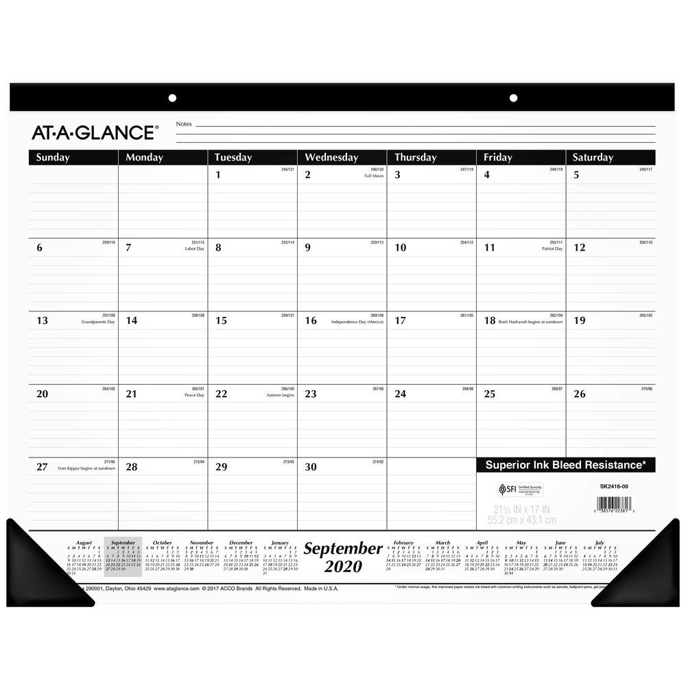"Academic Desk Calendar 2020-2021, AT-A-GLANCE Monthly Desk Pad Calendar, 21-3/4"" x 17"", Standard, Black (11SK241600)"