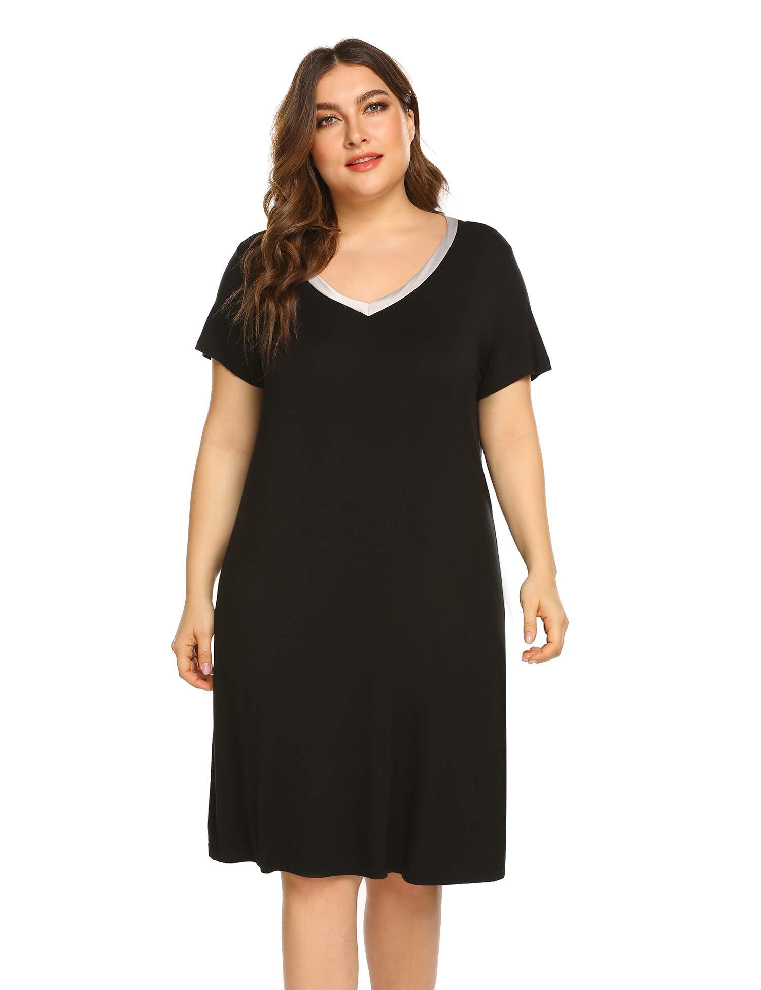 IN'VOLAND Plus Size Nightgowns Women V Neck Sleep Shirt Short Sleeve Nightdress Pajama Sleepwear Black