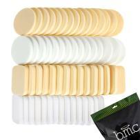b.m.c 60 pc Latex Free Makeup Blender Sponges for Full Coverage Powder, Cream, Liquid Foundation Cosmetics - Long Lasting, Disposable Beauty Foam Applicator Puffs for Sensitive Skin Professional MUA