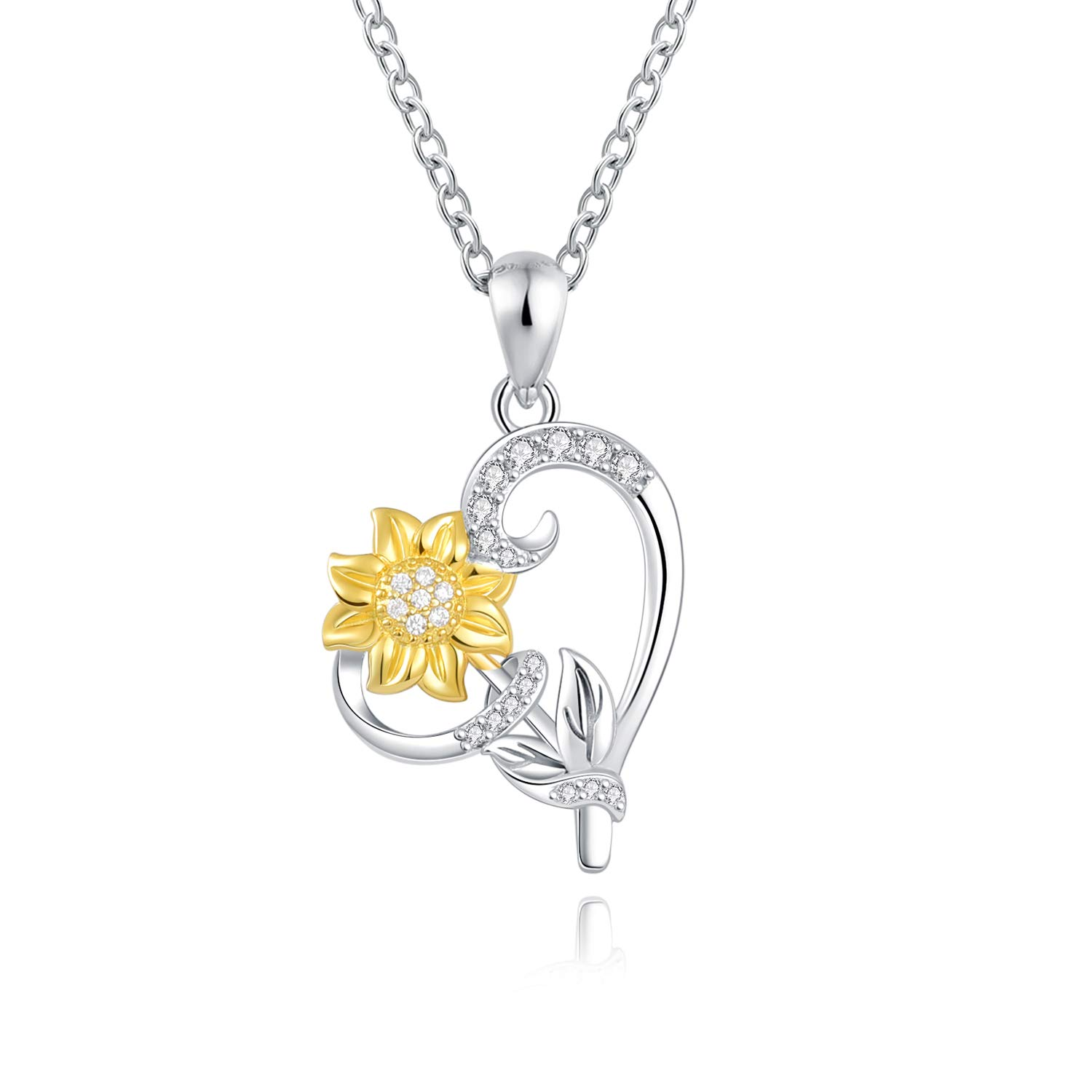 925 Sterling Silver Sunflower Pendant Heart Necklace Jewelry for Women Birthday Anniversary You are my Sunshine