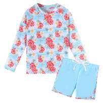 TFJH E Girls Long Sleeve Swimsuits Rashguard Sets Sunsuits UV 50+ Two Piece 3-12Y