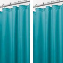 """mDesign - 2 Pack - Extra Long Water Repellent, Mildew Resistant, Heavy Duty Flat Weave Fabric Shower Curtain, Liner - Weighted Bottom Hem for Bathroom Shower and Bathtub - 72"""" x 96"""" - Teal Blue"""
