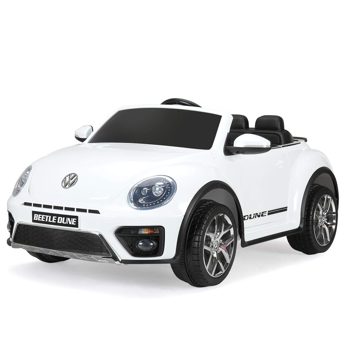 TOBBI Licensed Beetle 12V Kids Ride On Battery Powered Car RC White