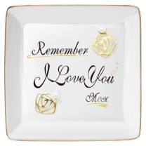 DOIOWN Ring Trinket Dish Jewelry Trays Ceramic Ring Decorative Trinket Dish Plate (Remember I Love You Mom)