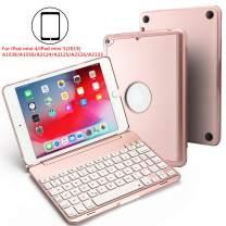 BHUATO Compatible iPad Mini 5 / Mini 4 Keyboard Case 2019 7.9 Inch Wireless Bluetooth 7 Color Backlit Light Thin 130 Degree Flip Smart iPad Keyboard Tablet Protector (Rose Gold)