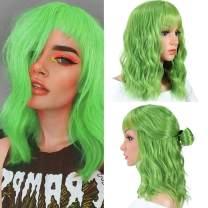 Green Wigs With Bangs for Women Short Natural Wavy Wig With Air Bangs Green Bob Wig Short Curly Natural Wavy Wig Synthetic Cosplay Wig Pastel Bob Wig